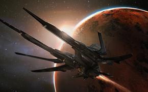 Wallpaper Star Citizen, ship, flight, starship, planet, space