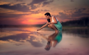 Picture water, girl, sunset, reflection, calm, silence, beauty, legs