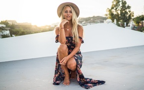 Picture summer, girl, face, style, hair, hat, dress, beauty