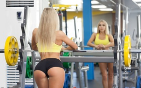 Picture reflection, model, blonde, mirror, pose, female, fitness, workout