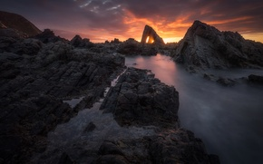 Picture sea, clouds, sunset, rocks, Wallpaper from lolita777