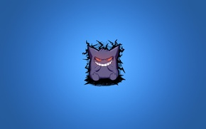 Picture purple, smile, minimalism, blue background, pokemon, pokemon, Gengar