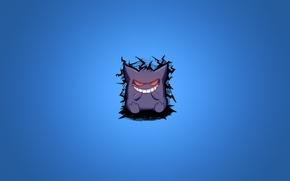 Picture purple, smile, minimalism, blue background, pokemon, pokemon, Gengar