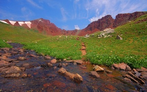 Picture green, mountains, stream, summer, clouds, the sky, grass, stones