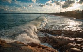 Picture sea, wave, beach, the sky, the sun, clouds, stones, coast, Australia, Knights Beach, Port Elliot