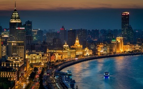 Picture night, the city, lights, river, building, road, home, skyscrapers, boats, lighting, China, Asia, Shanghai, Shanghai, ...