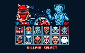 Picture background, the game, art, monsters, pixels, Doctor Who, Doctor Who, Cyberman, Dalek