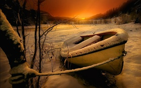 Picture snow, mountains, river, winter, landscape, sunset, trees, sky, river, boat, snow, nature, trees, winter, mountains, ...