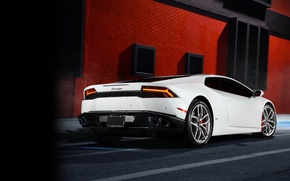 Picture Lamborghini, White, Smoke, Supercar, Rear, Huracan, LP610-4, Ligth