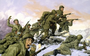 Picture winter, war, Americans, run, South Korea, The Borinqueneers by Dominic D\'Andrea, South Korea -- February …