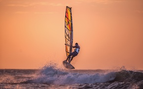 Picture sea, sunset, squirt, wave, Windsurfing, extreme sports, Windsurfing