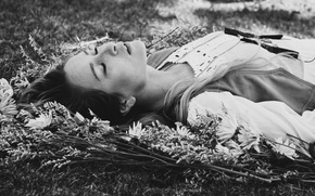 Picture grass, girl, lies, black and white