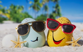 Picture summer, happy, beach, eggs, funny, glasses, cute, tropical