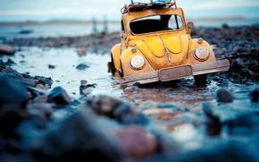 Picture Macro, Water, Volkswagen, Model, Stones, Beetle, Machine, Beetle, Toy