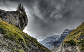 Picture clouds, trees, mountains, HDR, rock