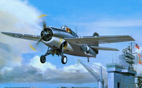 Picture art, the carrier, American, Grumman, fighter-bomber, deck, departure, F4F