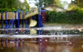 Picture autumn, macro, squirt, rain, puddles, lucydphoto, children's Playground