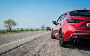 Picture road, machine, landscape, view, lights, Mazda, styling, styling, Mazda3, Axela, zoomzoom, WEDS Sport