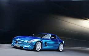 Picture Mercedes-Benz, Blue, Mercedes, AMG, Coupe, SLS, Chrome, Coupe