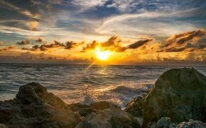 Picture sea, the sky, landscape, sunset, nature, stones, shore
