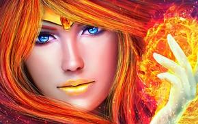 Picture eyes, look, girl, face, fire, magic, hand, beauty, art, Sailor Phoenix
