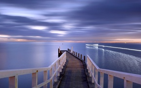Picture sea, landscape, sunset, bridge