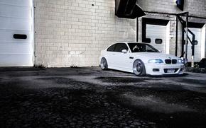 Picture white, asphalt, the building, bmw, BMW, white, e46