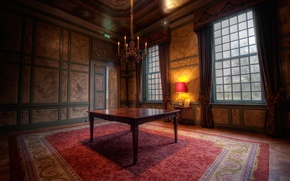 Wallpaper style, room, interior, table, window, carpet, apartment, castle, brown, design