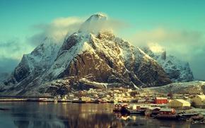 Picture winter, sea, the sun, clouds, snow, mountains, coast, home, Norway, Lofoten, The Lofoten Islands