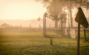 Picture field, fog, morning, gate
