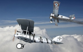 Picture art, painting, aviation, dogfight, ww1