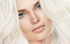 Picture eyes, look, girl, face, portrait, blonde, beauty, mole