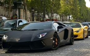 Picture street, black, Ferrari, Lambo