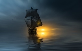 Picture sunset, birds, the ocean, ship, sails, photographer, Christian Wig
