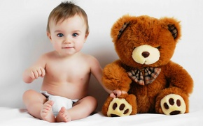 Wallpaper child, baby, bear, child, diaper, diaper, soft toy