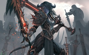 Wallpaper weapons, art, world of warcraft, warrior, armor, wlop, tail, girl, sword, horns
