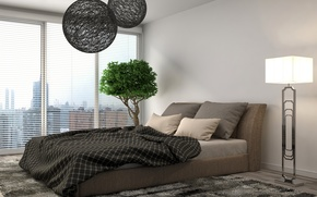 Picture design, room, tree, Windows, Bush, lamp, bed, carpet, pillow, blanket, floor lamp, bedroom, blinds, decorative