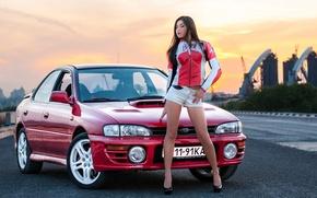 Picture Subaru, Impreza, Girl, Beautiful, Bridge, Feet