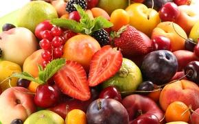 Picture berries, strawberry, fruit, peaches, plum, fresh, cherry, fruits, berries
