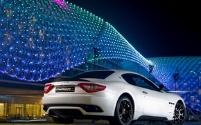 Picture night, the building, white, bright, auto, Maserati GranTurismo S