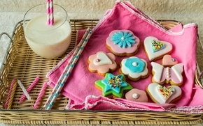 Picture flowers, heart, colored, star, food, colorful, milk, cookies, form, Cup, star, heart, drink, food, flowers, ...