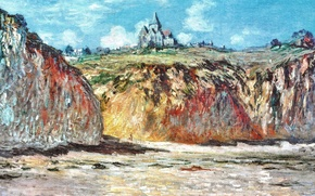 Wallpaper landscape, rocks, picture, Claude Monet, The Church in Varengeville