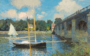 Wallpaper landscape, boat, picture, sail, Claude Monet, The bridge at Argenteuil