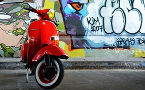 Picture red, retro, wall, graffiti, moped, old school