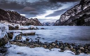 Picture sea, mountains, stones, rocks, ice