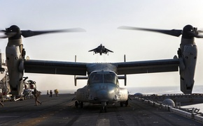 Picture fighter, deck, USA, the rise, BBC, Harrier, the tiltrotor, Osprey, MV-22B