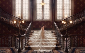Picture the bride, wedding, ladder, wedding dress, lights, dress, Windows