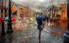 Picture girl, drops, rain, umbrella, Saint Petersburg, Nevsky, autumn