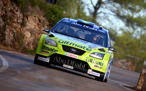 Picture Ford, Auto, Race, Racer, Focus, WRC, Rally, The front, In Motion