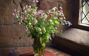 Picture bouquet, window, field